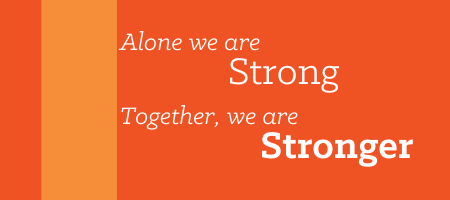 alone we stand together strong banner